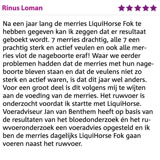 Ervaring LiquiHorse Fok Rinus Loman