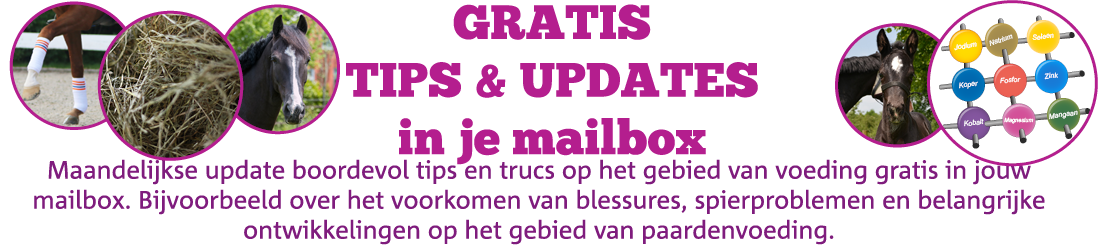 Ontvang maandelijkse updates en tips over paardenvoeding in je mailbox