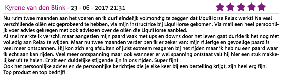 Ervaring LiquiHorse Relax Kyrene van den Blink
